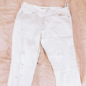 Old Navy White Rockstar Distressed Jeans Size 14